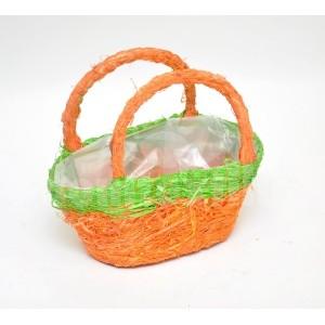 Dekoračný košík v zeleno oranžovej farbe