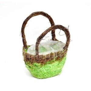 Malý ozdobný košík v zelenej farbe
