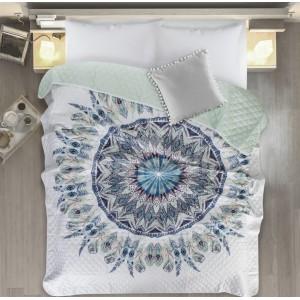 Prehoz s motívom mandaly v bielo mentolovej farbe