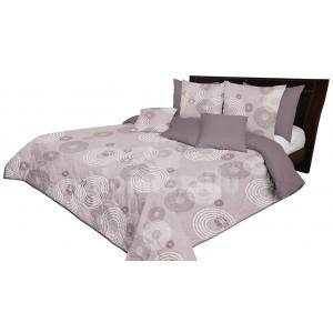 Prehoz na posteľ v hnedej farbe s kruhovými vzormi