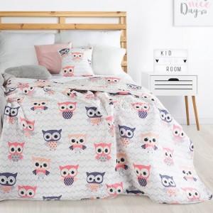 Ružovo biely obojstranný prehoz na detskú posteľ