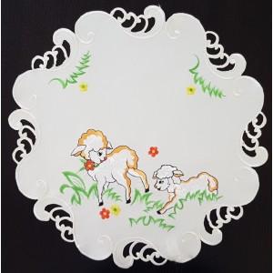 Veľkonočný dekoračný obrus s motívom barančeka