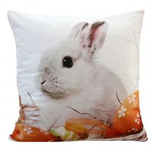 Farebná dekoračná obliečka na vankúš s motívom zajaca