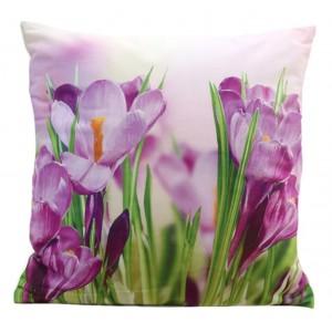 Obliečka na vankúš s motívom fialových kvetov