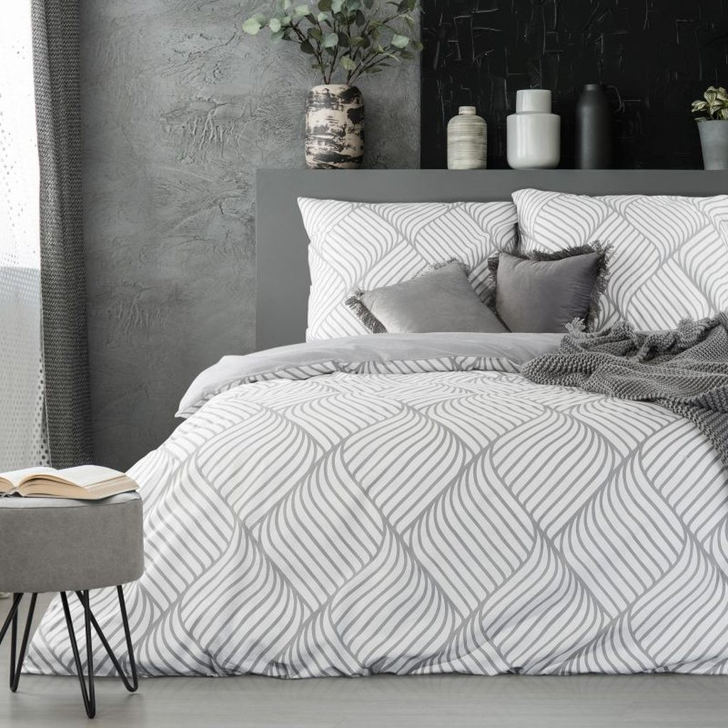 DomTextilu Vzorované posteľné prádlo v bielo sivej farebnej kombinácií 3 časti: 1ks 160 cmx200 + 2ks 70 cmx80 Biela 13929-216570