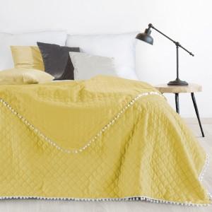 Kvalitný prešívaný prehoz na posteľ žltej farby