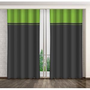 Sivo zelený dekoračný záves do obývačky