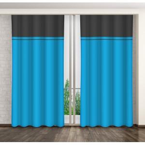 Hotový dekoračný záves na okno modrej farby