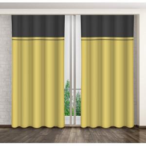 Dekoračný záves na okno horčicovo žltej farby