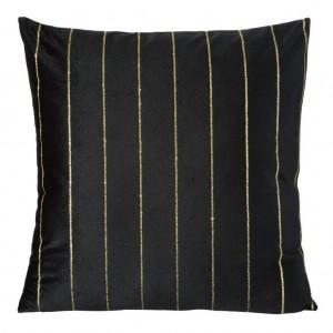 Čierna obliečka na vankúš zdobená zlatou aplikáciou