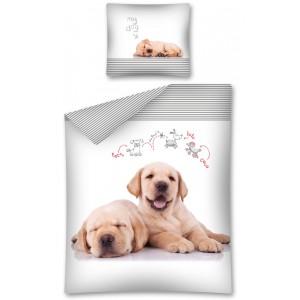 Detské bavlnené posteľné obliečky s motívom psa