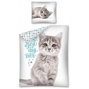 Detské posteľné obliečky s motívom mačičky v bielej farbe