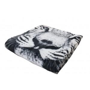 Čierno biela jemná deka s motívom tigra