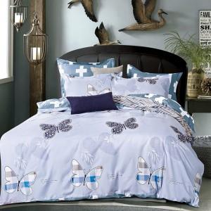 Luxusná mäkká posteľná bielizeň modro šedej farby