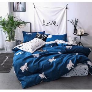 Moderné posteľné obliečky z mikrovlákna v modrej farbe
