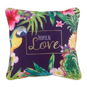 Luxusný pestrofarebný vankúš s tropickým motívom