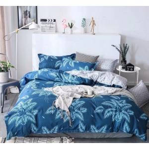 Posteľné obliečky modrej farby s moderným exotickým motívom
