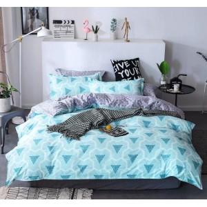Svetlo modré vzorované posteľné obliečky z mikrovlákna