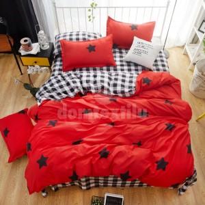 Červené posteľné obliečky s hviezdičkami