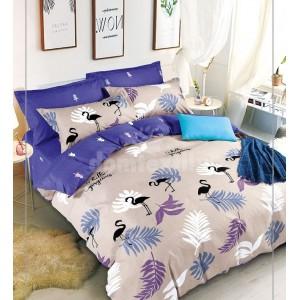 Fialovo béžové posteľné obliečky obojstranné