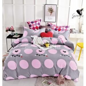 Sivé posteľné obliečky s ružovými guličkami