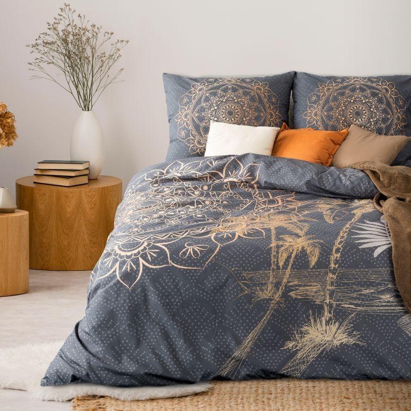 Luxusná vzorovaná posteľná bielizeň z bavlny 3 časti: 1ks 160 cmx200 + 2ks 70 cmx80 Sivá