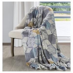 Luxusná deka v bielej farbe s motívom geometrických tvarov