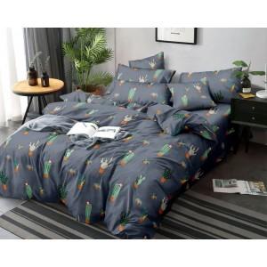 Tmavo modré posteľné obliečky s motívom kaktusov