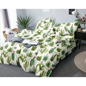 Kremové posteľné obliečky s kaktusovým motívom