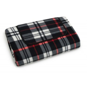 Károvaná pikniková deka v čiernej farbe