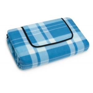 Svetlo modrá plážova deka s károvaným vzorom