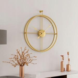 3D kovové hodiny so zlatým leskom