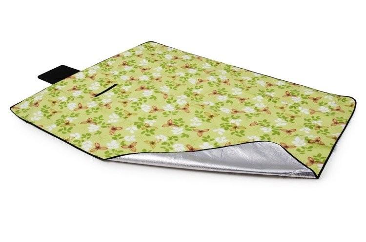 DomTextilu Zelená pikniková deka s kvetovým motívom 150 x 200 cm 10316-28424 Zelená Kvetový