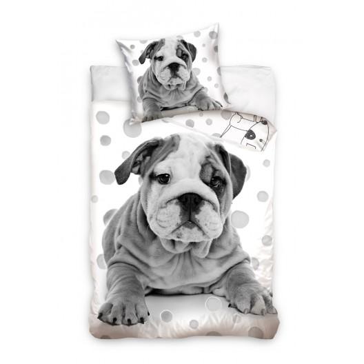 Biele posteľné obliečky pre deti so psíkom