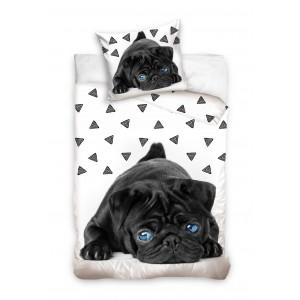 Obliečky na posteľ so psíkom s modrými očami