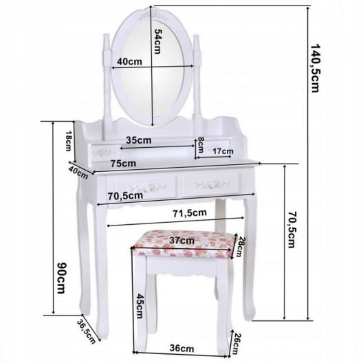 Kvalitný toaletný stolík s otáčacím zrkadlom a stoličkou