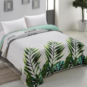 Prešívaný obojstranný prehoz na posteľ s tropickým motívom