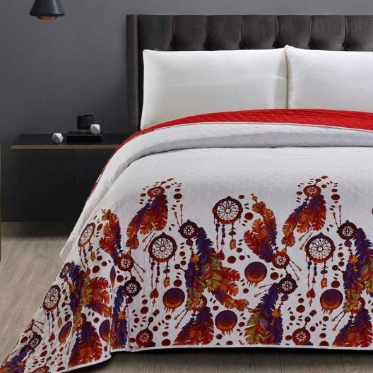 Luxusný prehoz červenej farby s motívom lapača snov