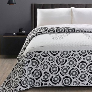 Luxusný čierno biely prehoz na manželskú posteľ