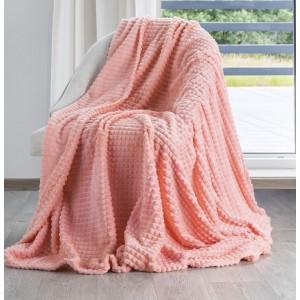 Štýlová teplá deka korálovo ružovej farby