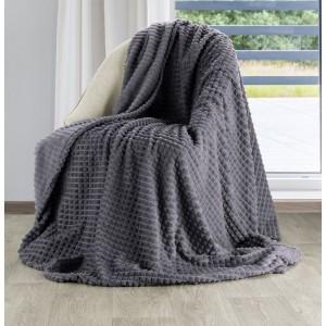 Mäkučká jemná a teplá deka v tmavo sivej oceľovej farbe