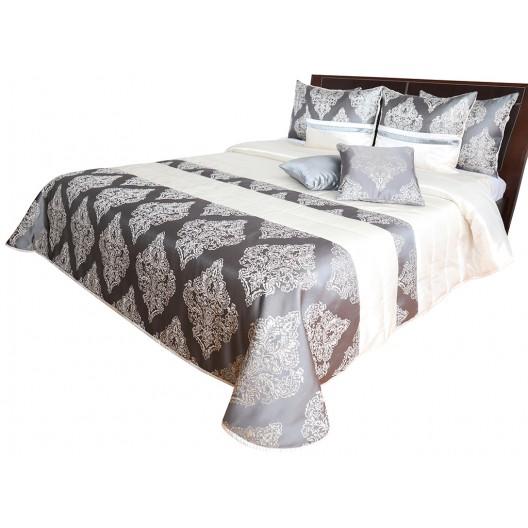 Krásny prehoz na posteľ sivo zlatý s prepracovaním vzorom