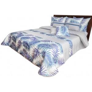 Štýlový prehoz na posteľ bielo modrý s motívom farebných listov