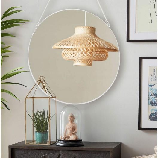 Štýlové závesné okrúhle zrkadlo v bielej farbe