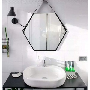 Originálne čierne závesné zrkadlo v industriálnom štýle 57 cm
