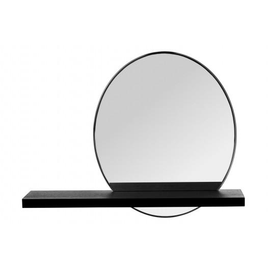 Moderné závesné oválne zrkadlo osadéné v čiernej poličke