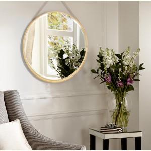 Moderné závesné zrkadlo v drevenom ráme