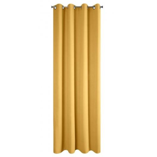 Moderný dekoratívny zatemňujúci záves v žltej farbe