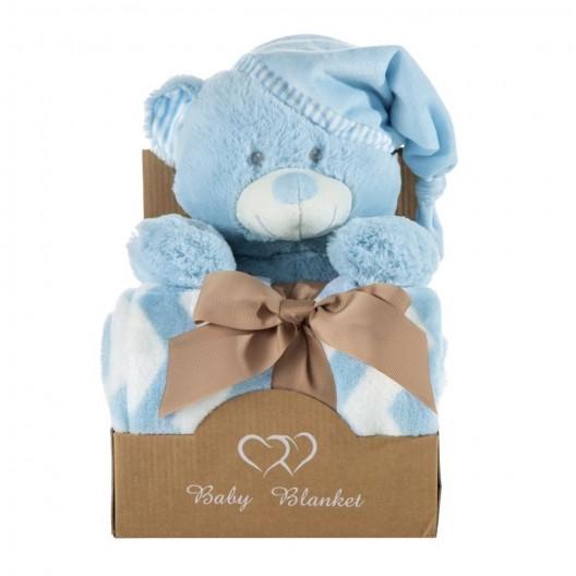 Krásna modrá darčeková sada pre chlapčeka deka a plyšová hračka