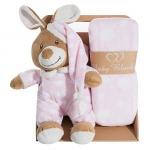 Elegantná ružová darčeková sada pre dievčatko deka a plyšová hračka